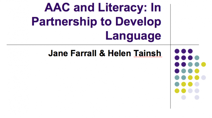 AAC and Literacy in Partnership to Develop Language